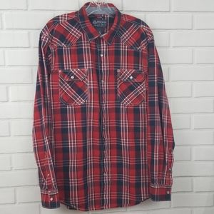 American Rag Plaid Pearl Snap Button Down Shirt